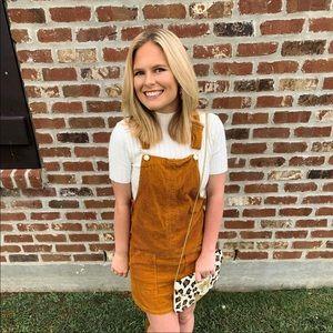 Burnt Orange - Corduroy Overall Dress | F21
